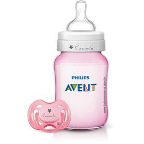 Kit-Avent-Classic---1-Mamadeira-260ml-e-1-Chupeta-Fase-1---Rosa---Personalizado