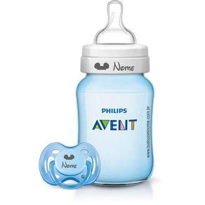 Kit-Avent-Classic---1-Mamadeira-260ml-e-1-Chupeta-Fase-1---Azul---Personalizado